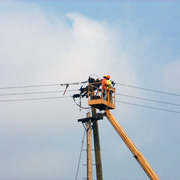 High Voltage Power Line Contractors at Work